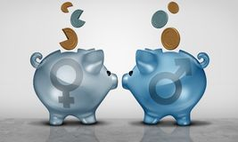 Pay Equity Financial Problem. Pay equity and economic gender gap business concept as two piggy bank objects with male and female symbol showing salary inequality stock illustration