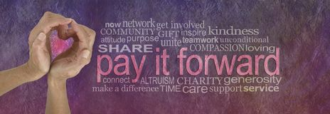 PAY IT FORWARD with love word cloud. Campaign banner with female hands making a heart shape on left with a PAY IT FORWARD word cloud beside on a rustic parchment Royalty Free Stock Image