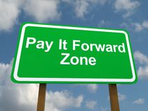 Pay it forward zone sign. Green play it forward zone sign with blue sky and cloudscape background Royalty Free Stock Photo
