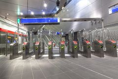 Pay gates at metro line Amsterdam royalty free stock photo