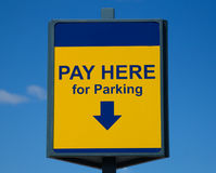 Pay Here for Parking Sign Stock Photos