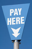 Pay Here sign in car park Royalty Free Stock Photo