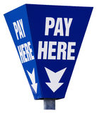 Pay here sign isolated on white. Park and display car park. East England Stock Photo