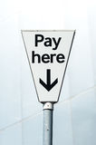 Pay Here sign. Pay and display carpark Royalty Free Stock Photography
