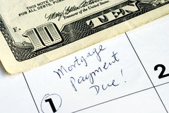 Pay the home mortgage on time. Be sure to pay the home mortgage on time Stock Image