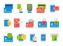 Pay on line and mobile banking icons, flat design. Pay on line and mobile banking icons, thin line, flat design Royalty Free Stock Photos
