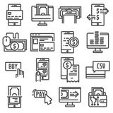Pay on line and mobile banking icons, thin line. TPay on line and mobile banking icons, thin line. Vector illus Stock Photo