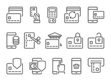 Pay on line and mobile banking line icons. Pay on line and mobile banking icons, thin line, flat design Stock Photos