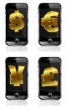 Pay by Mobile Phone Dollar Pound Euro Renminbi Yen Royalty Free Stock Image