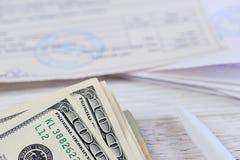 Pay money bills Royalty Free Stock Photo