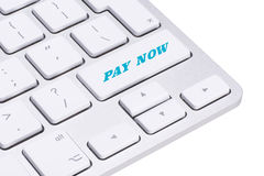 Pay now button on keyboard Stock Photography