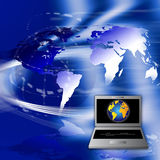 Pay Online. An image for the concept of paying or getting paid online for goods and services using computer laptop or desk tops. The graphic shows a laptop Stock Photos