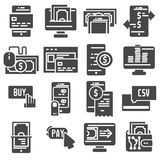 Pay online and mobile banking icons. Flat design Royalty Free Stock Image