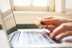 Pay online with promo code from discount card, shopping stock photos