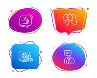 Pay, Online shopping and Like icons set. Support service sign. Beggar, Black friday, Thumbs up. Human talking. Vector. Pay, Online shopping and Like icons simple stock illustration