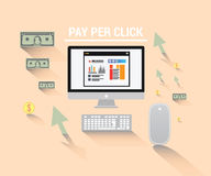 Pay per click  with computer and dollars Royalty Free Stock Image