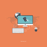 Pay per click concept. Flat vector illustration with computer screen, keyboard, mouse and pointer stock illustration