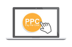 Pay per click concept with laptop and cursor Royalty Free Stock Photos