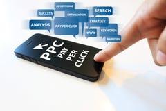 Pay per click concept. Social media, Pay per click concept stock image