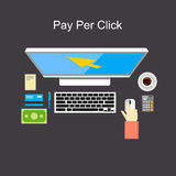 Pay per click flat design illustration. Stock Images