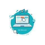 Pay per click flat illustration Royalty Free Stock Image
