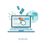 Pay per click flat illustration Royalty Free Stock Photo