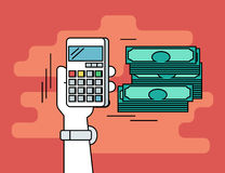 Pay per click. Flat line contour illustration of calculating money Royalty Free Stock Photos