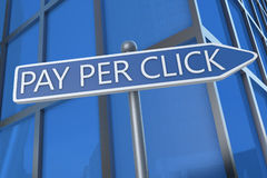 Pay per Click. Illustration with street sign in front of office building royalty free illustration
