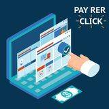 Pay per click, infographics illustration. Touch your finger to the screen of a laptop Stock Images