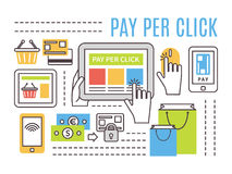 Pay per click internet advertising concept. Flat. Thin line vector icons royalty free illustration