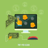 Pay per click internet advertising model Royalty Free Stock Photos