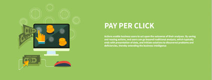 Pay per click internet advertising model. When the ad is clicked. Modern flat design Royalty Free Stock Photos