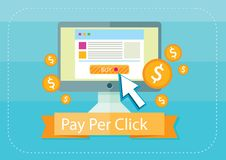 Pay per click internet advertising model Stock Photos
