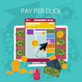 Pay per click internet advertising model Royalty Free Stock Image