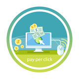 Pay per click internet advertising model. When the ad is clicked. Monitor with button buy modern flat design cartoon style Stock Images