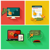 Pay per click internet advertising model. When the ad is clicked. Set for web and mobile applications in modern flat design Royalty Free Stock Photography
