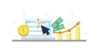 Pay Per Click internet marketing concept - flat  illustration. PPC advertising and conversion. Pay Per Click internet marketing concept - flat  illustration Royalty Free Stock Photo