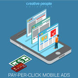 Pay-per-click internet page banner laptop flat isometric vector Stock Photos