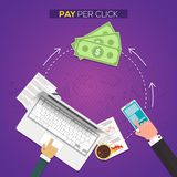 Pay per click, Online web marketing Business. Royalty Free Stock Photos