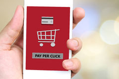 Pay per click on smart phone screen. Royalty Free Stock Photos
