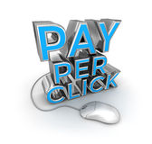 Pay Per Click text and mouse, 3d Concept Stock Photo
