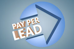 Pay per Lead. Text 3d render illustration concept with a arrow in a circle on blue-grey background Stock Image