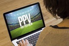pay per view компьютера женщины Стоковые Изображения