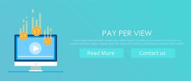 Pay per view banner. Play video on computer after your get money Royalty Free Stock Images