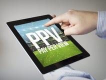 pay per view em uma tabuleta Fotografia de Stock