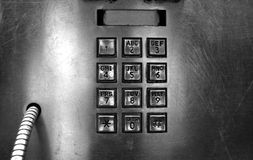 Pay Phone Key Pad. In Silver stock photos