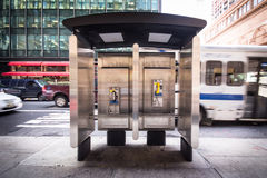 Pay phone. On New York City corner Royalty Free Stock Photography