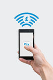 Pay with phone - Pound currency symbol. Method of payment by NFC technology from the smartphone - Pound currency symbol Royalty Free Stock Images