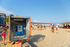 The pay phone at the public beach Royalty Free Stock Photos