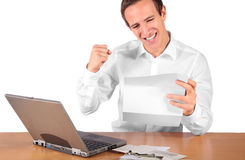 Pay raise. A happy young employee gets a pay raise. All isolated on white background Stock Image